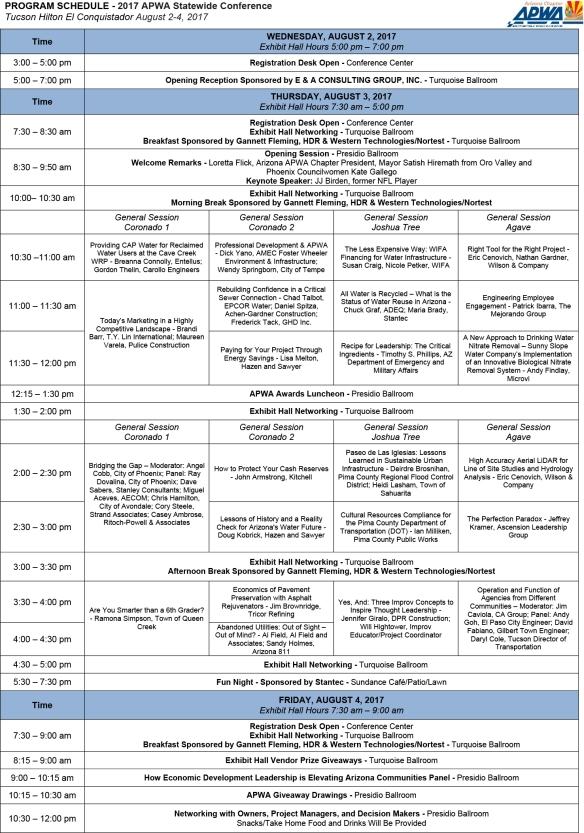 Program Schedule 7-31